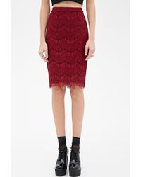 Forever 21 Scallop Lace Pencil Skirt - Lyst