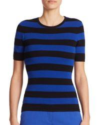Michael Kors Striped Knit Top blue - Lyst