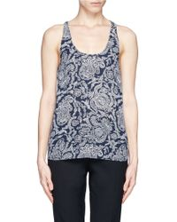 Theory 'Akena W' Paisley Print Silk Georgette Top blue - Lyst