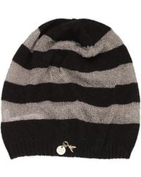 Patrizia Pepe Woolviscose Mix Hat with Toned Stripes - Lyst