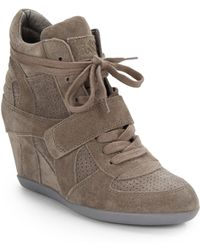 Ash Bowie Perforated Suede Wedge Sneakers - Lyst