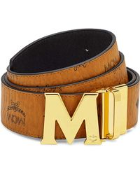 MCM   Reversible Visetos Saffiano Leather Belt   Lyst