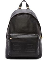 Versus  Black Leather Tape Deck Embossed Backpack - Lyst