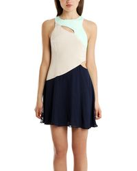 Charlotte Ronson Colorblock Cutout Dress - Lyst