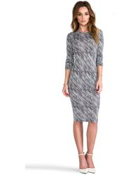 10 Crosby Derek Lam Zig Zag Print Long Sleeve Dress in Black - Lyst