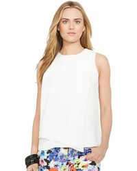 Ralph Lauren Draped-Overlay Top - Lyst