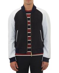 Thom Browne Cashmere Leather Combo Letterman Jacket - Lyst