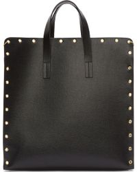 Versus  Black Grained Leather Gold Safety_pin Riveted Tote - Lyst