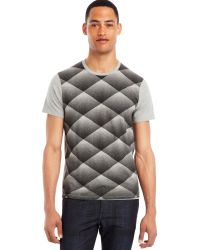 Kenneth Cole Reaction Quilt Print Tshirt - Lyst
