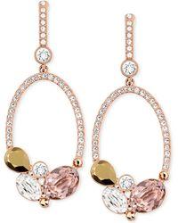 Swarovski Rose Goldtone Branch Crystal Open Circle Drop Earrings - Lyst