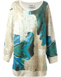 Acne Abstract Print Oversized Sweatshirt - Lyst