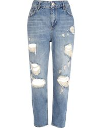 River Island Light Wash Ripped Straight Jeans - Lyst