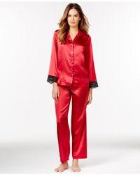 Morgan Taylor - Lace Trim Satin Top And Pajama Pants - Lyst