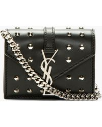 Saint Laurent Black Leather Studded Monogram Candy Toy Satchel - Lyst
