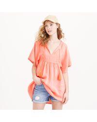 J.Crew Neon Linen Tassel Beach Tunic orange - Lyst
