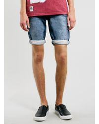 Topman Dark Wash Denim Shorts - Lyst