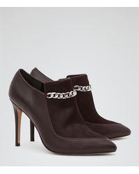 Reiss Muse Embellished Leather Ankle Boots - Lyst