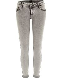 River Island Grey Acid Wash Rolled Up Cara Superskinny Jeans - Lyst