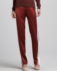Adam Lippes Satin Track Pants Copperwhite - Lyst