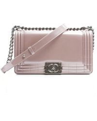 Chanel Pre-Owned Pink Metallic Leather Medium Boy Bag - Lyst