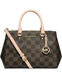 Michael Kors - Sutton Logo Checkerboard Small Satchel - Lyst