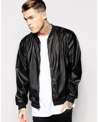 American Apparel - Faux Leather Bomber Jacket - Lyst