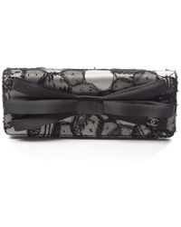 Chanel Pre-owned White Satin Black Lace Clutch - Lyst