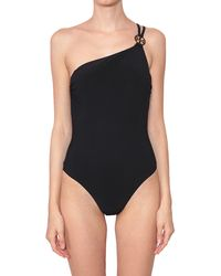 Tory Burch One-Piece Swimsuit With One Shoulder And Logo - Lyst