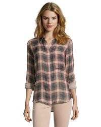 L'Agence Taupe And Red Plaid Cotton Snap Front Blouse - Lyst