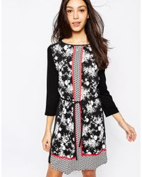 Oasis Notch Neck Print Dress - Lyst