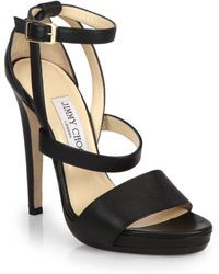 Jimmy Choo Discus Strappy Leather Platform Sandals - Lyst