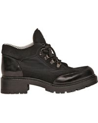 Emporio Armani - 40mm Brushed Leather & Cotton Boots - Lyst