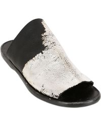 Dimissianos & Miller Mule Silver Leaf Leather Sandals - Lyst