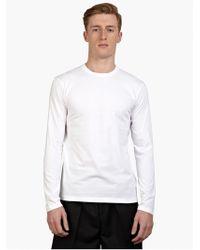 Jil Sander Men'S White Long-Sleeved Cotton T-Shirt - Lyst