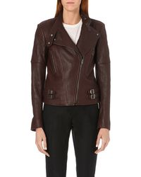 Joseph Bubble Leather Biker Jacket 502 Burgundy - Lyst