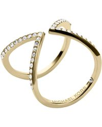 Michael Kors Open Arrow Pave Ring Golden - Lyst