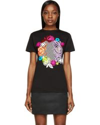 Christopher Kane Black Floral Graphic T_shirt - Lyst