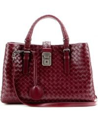 Bottega Veneta Mini Roma Intrecciato Leather Tote - Lyst