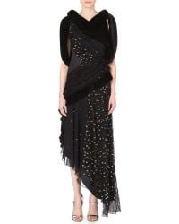 Rodarte Draped Velvet And Chiffon Gown - Lyst