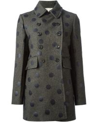 Vanessa Bruno Polka Dot Double Breasted Coat - Lyst
