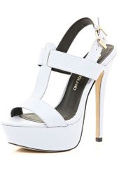 River Island Light Purple T Bar Platform Sandals - Lyst