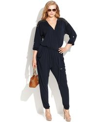 Michael Kors Michael Plus Size Studded Belted Jumpsuit - Lyst