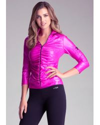 Bebe Iridescent Funnel Jacket - Lyst
