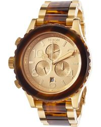 Nixon Men'S 42-20 Chrono Gold-Tone Ss And Havana Acetate Gold-Tone Dial - Lyst