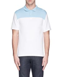 Armani Colourblock Cotton Blend Polo Shirt - Lyst