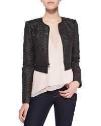 BCBGMAXAZRIA Duke Floral Embroidered Faux Leather Jacket - Lyst