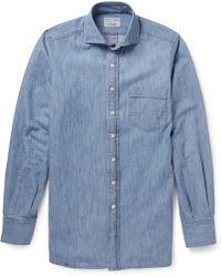 Drake's Blue Denim Shirt - Lyst