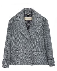 Burberry Brit Tweed Coat with Wide Collar - Lyst