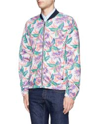 Scotch & Soda Hawaiian Floral Print Bomber Jacket - Lyst