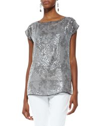 Eileen Fisher Sequin And Silk Top - Lyst